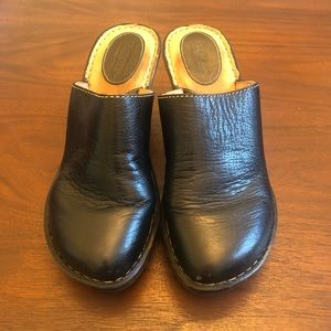 Born Black Leather Wedge Mules/Clogs Size 7